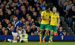 Norwich City's Steven Naismith celebrates scoring their first goal with Nelson Oliveira.