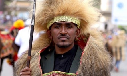 Ethiopian musician Haacaaluu Hundeessaa poses while dressed in a traditional costume during the 123rd anniversary celebration of the battle of Adwa in Addis Ababa.
