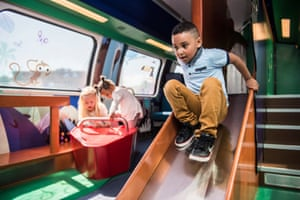 Children in a play area, in one of Swiss Federal Railway's family carriages.