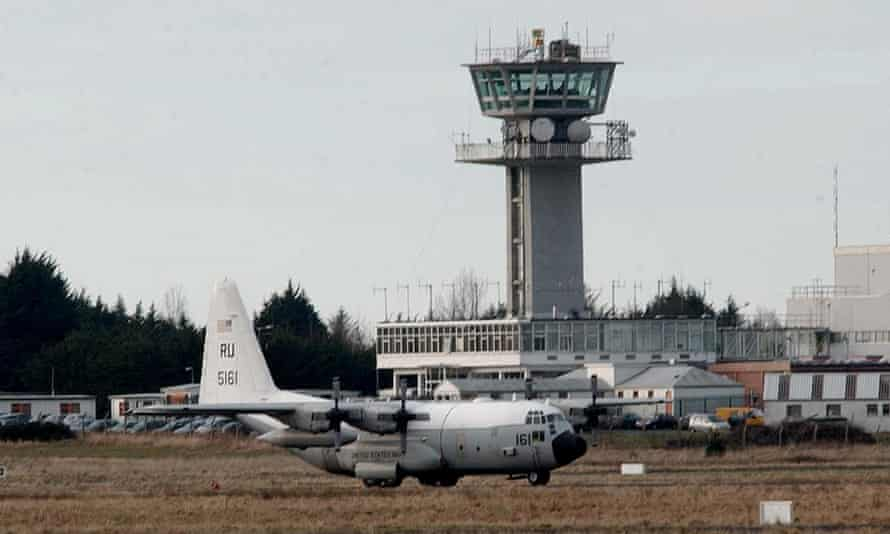 A US Hercules Transporter military aircraft parked at Shannon airport.
