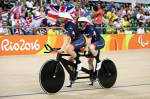 Corrine Hall and Lora Turnham of Great Britain celebrate after winning gold in the women's B 3000m individual pursuit final