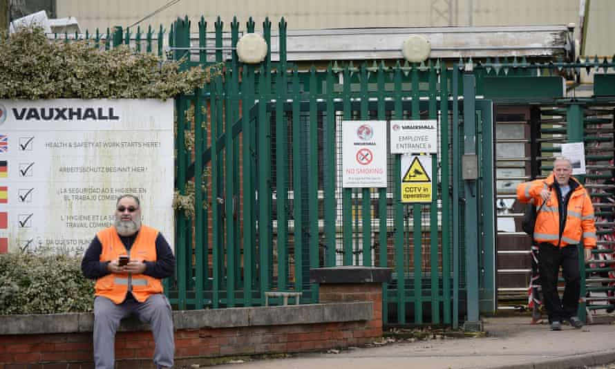 Vauxhall workers outside the factory in Luton