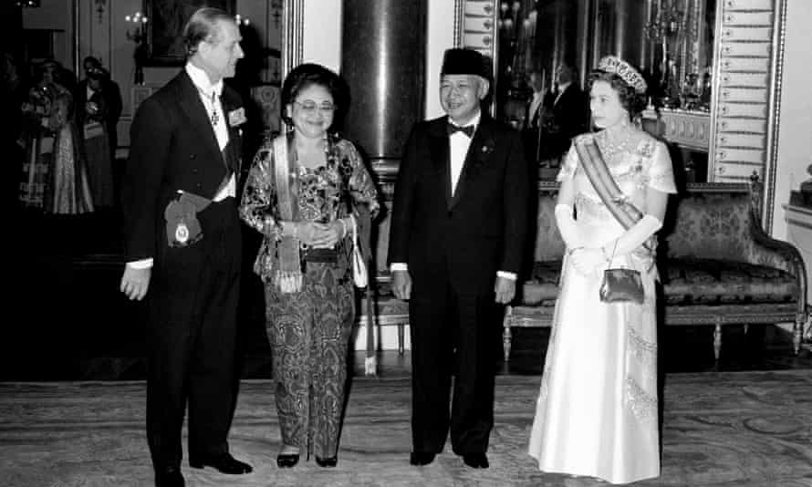President Suharto with his wife, Tien, the Queen and Duke of Edinburgh at Buckingham Palace in 1979.