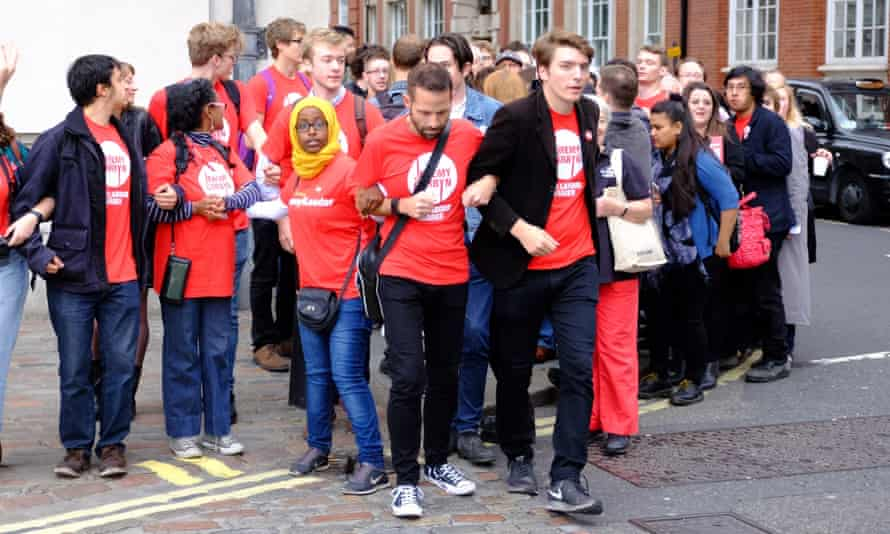 James Schneider with Corbyn supporters during the leadership campaign in September 2015
