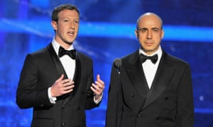 Mark Zuckerberg and Yuri Milner during the 2016 Breakthrough prize ceremony in Mountain View, California.