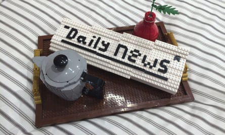 Morning newspaper and pot of tea made of Lego bricks at Legoland, Billund, Denmark.