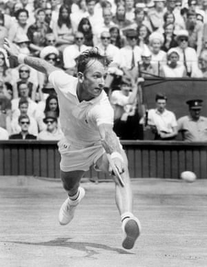 Rod Laver on his way to beating Tony Roche in the Wimbledon final of 1968