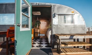 Trailer that is now a hostel at The Sands (at Hotel Luna Mystica), Taos, USA.