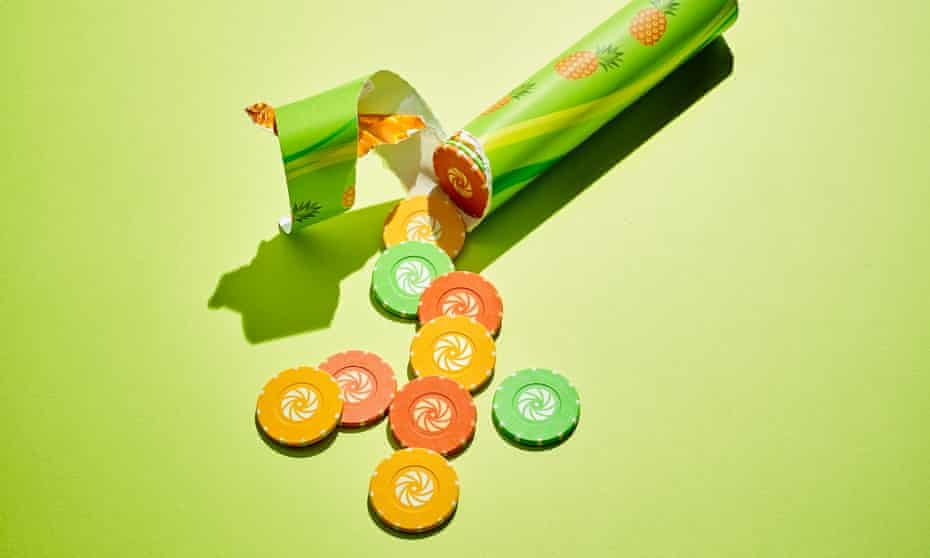 Illustration of gambling chips in a sweets tube