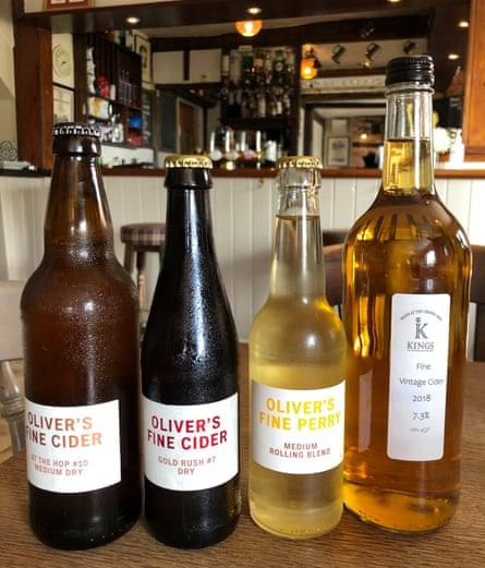 A selection of cider at the Crown Inn at Woolhope