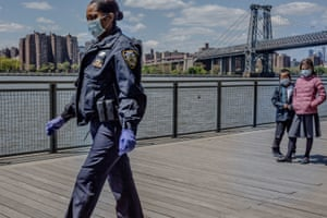 Police enforce social distancing rules at Domino Park in Brooklyn, New York on May 6th. Photo by Jordan Gale