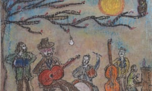 Detail of the pastel drawing attributed fraudulently to singer Bob Dylan.