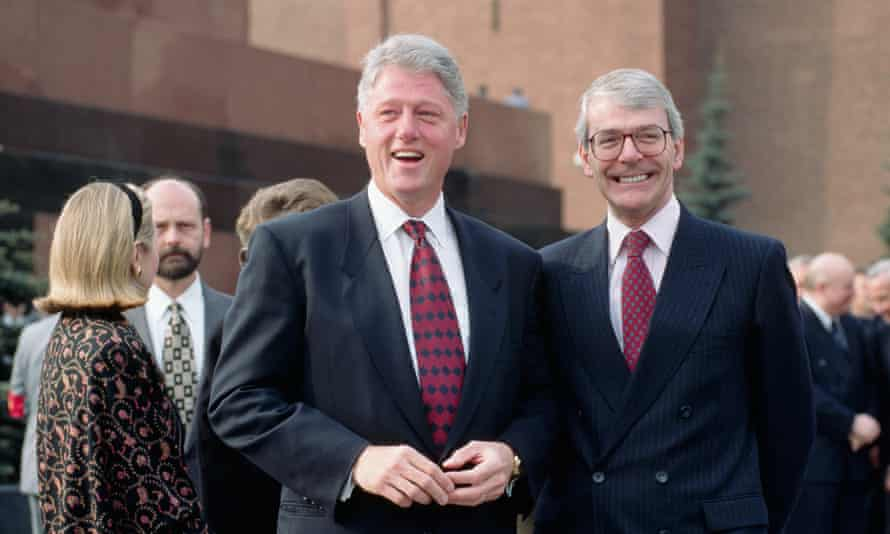 Bill Clinton and John Major in Red Square