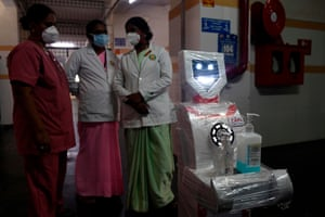 Chennai, India Medical staff participate in a demo of the interactive robot Zafi, which will be deployed at Covid -19 isolation wards, at Stanley Medical hospital