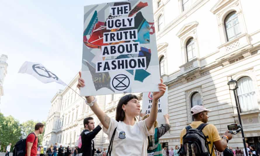 An Extinction Rebellion protest at London fashion week. Activists staged a 'die-in' on Friday.