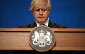 Boris Johnson at his press conference this afternoon.