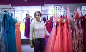 Marie Claire Placide, a dress shop owner and fashion designer, in Bangor, Pennsylvania on 21 April 2017.
