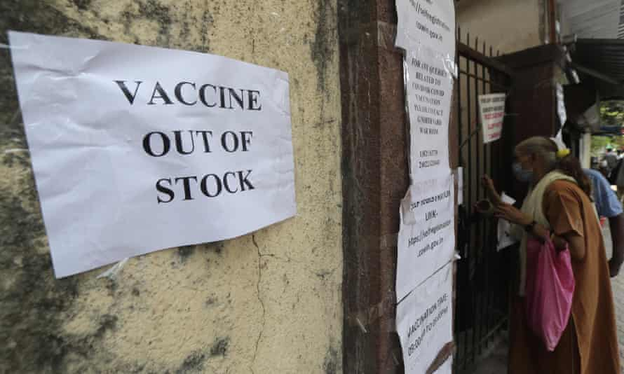 Sign in Mumbai, India, saying covid vaccine is out of stock