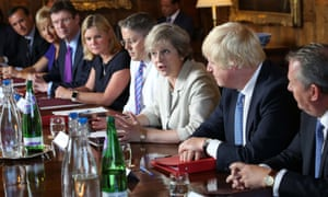 Theresa May holding a cabinet meeting at Chequers in August 2016