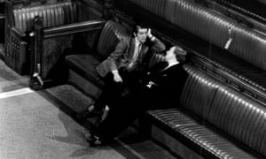 Skinner chats to Neil Kinnock, where both MPs had remained during the Queen's speech in 1977.