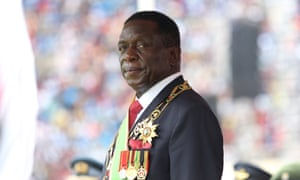 Emmerson Mnangagwa attends his inauguration ceremony in Harare