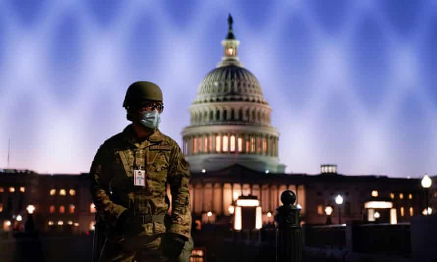 A member of the national guard outside the Capitol in January. Thursday marks the date some rightwing conspiracy theorists have claimed Donald Trump will be sworn in for a second term in office. He will not.