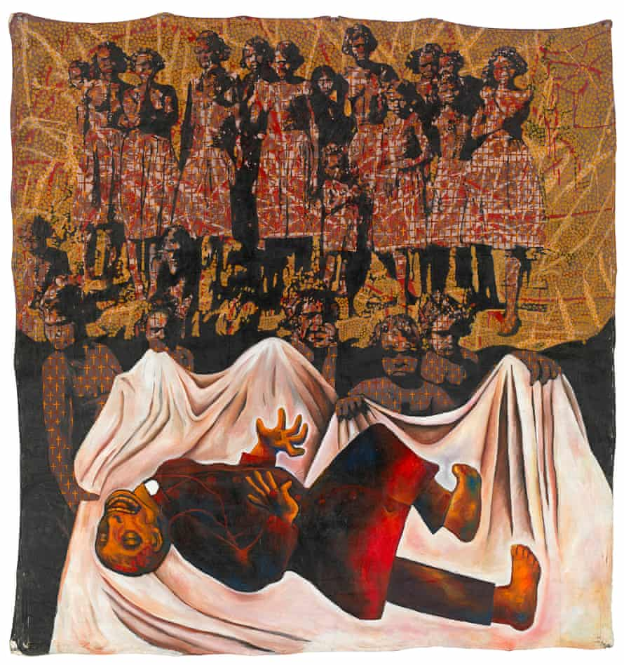 """Julie Dowling, Badimaya woman. """"Goodbye white fella religion,"""" 1992. Held by the NGV, image supplied by the NGV, copyright Julie Dowling and licensed by Viscopy."""