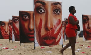 Activists in Rio de Janeiro highlight the problem of violence against women.