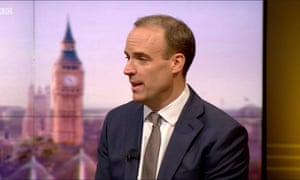 Foreign secretary Dominic Raab speaking to Andrew Marr