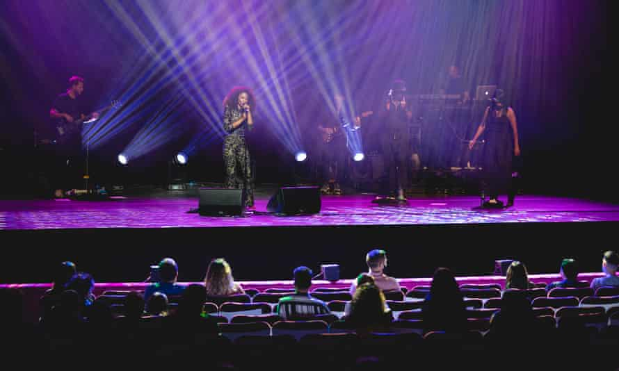 Beverley Knight on stage at the London Palladium.