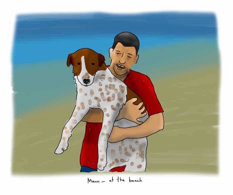 An illustration of Mansour Shoushtari holding a dog