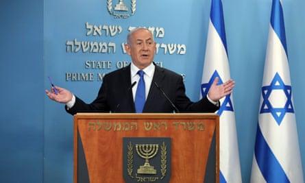 Israeli prime minister Benjamin Netanyahu gives a press conference in Jerusalem on August 13, 2020.