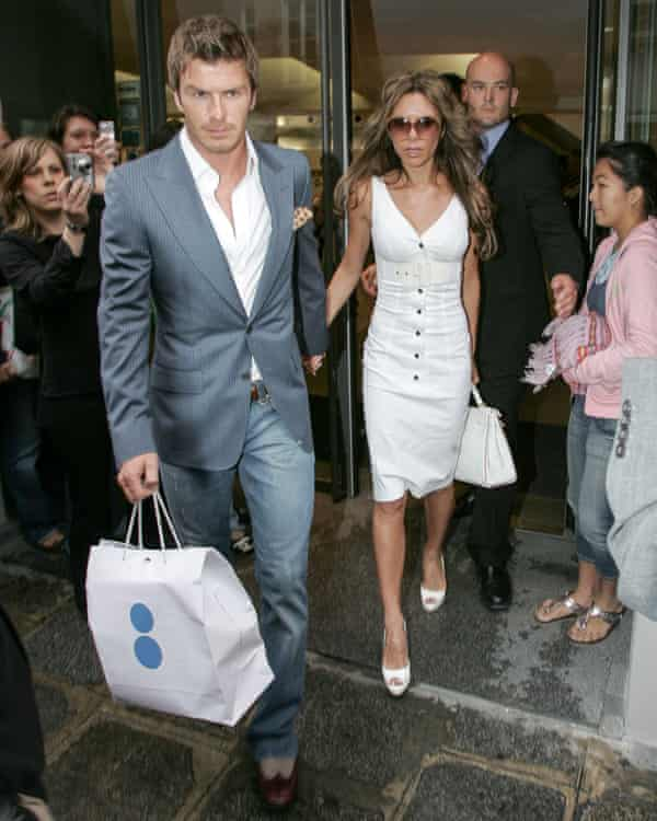 David and Victoria Beckham at the store in 2006. Other famous fans include Karl Lagerfeld and Pharrell Williams.