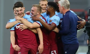 Declan Rice celebrates after scoring for West Ham