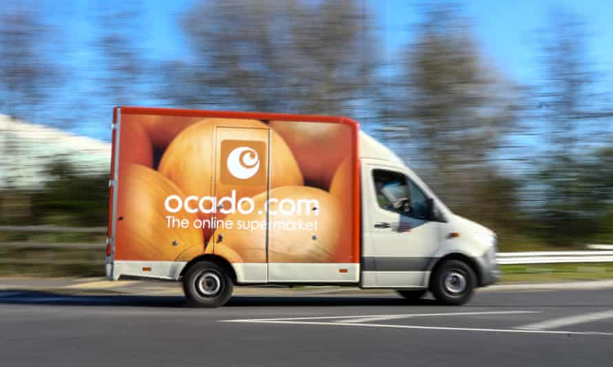 An Ocado home delivery van departs from the group's warehouse in Erith, south-east London.