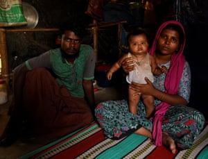 Mohammed Yosuf and Sobora Khatun with their baby Rukia in Shamlapur refugee camp