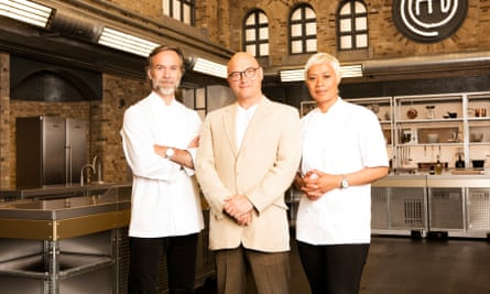 A setup that induces a state of shaking nervousness …Marcus Wareing, Gregg Wallace and Monica Galetti scrutinise every knife flick of the contestants.