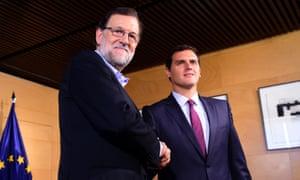 Caretaker PM Mariano Rajoy and rival Albert Rivera