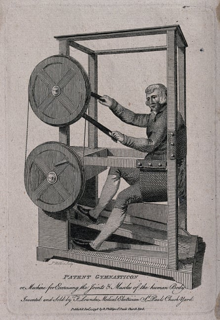 The Gymnasticon, an exercise machine invented and patented by Francis Lowndes circa 1797