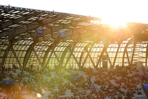 Sunlight falls over the stadium during a group C match between Jamaica and Australia at Stade des Alpes.