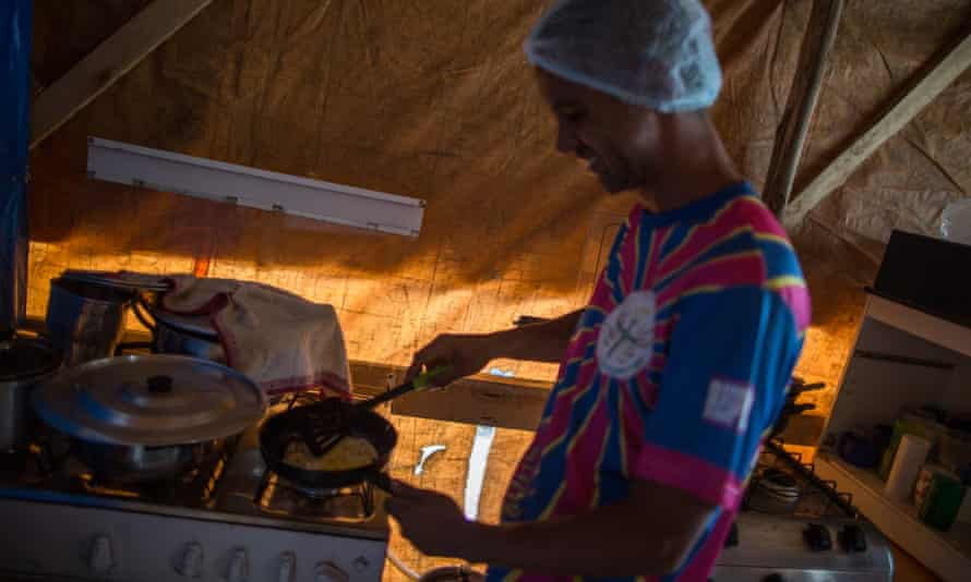 Adapted kitchens were installed in the camp, and people take turns cooking