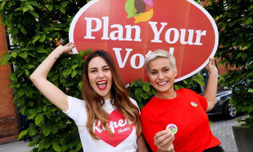 Brianna Parkins, left, with a fellow repeal voter campaigning in Ireland after flying from Australia.