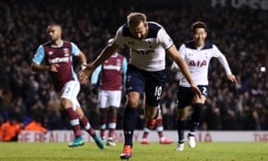 Harry Kane celebrates after giving Spurs the lead in injury time from the penalty spot.