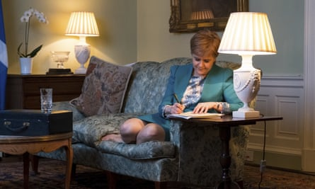 Scotland's First Minister Nicola Sturgeon working on the final draft of her Section 30 letter to Britain's Prime Minister Theresa May
