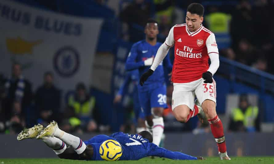 Gabriel Martinelli leaves N'Golo Kanté on the ground as he races clear to score Arsenal's first goal at Chelsea.