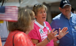 Kathy Harrington, 56, joins fellow political activists during Musikfest in Bethlehem.