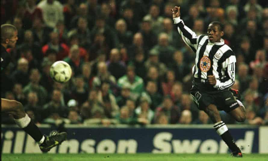 Tino Asprilla puts Newcastle 3-2 ahead at Anfield. 'Instinctive, astonishing, bow-legged brilliance.'