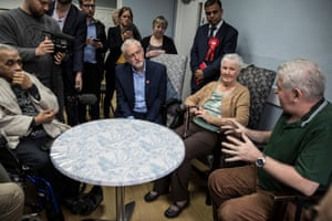 Corbyn in Bedford on Friday visiting a centre for the over-50s that has lost some of its funding