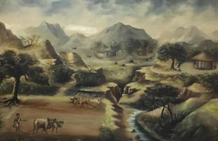 A painting from 1951 in Ethiopia's National Museum shows erosion devouring arable land.