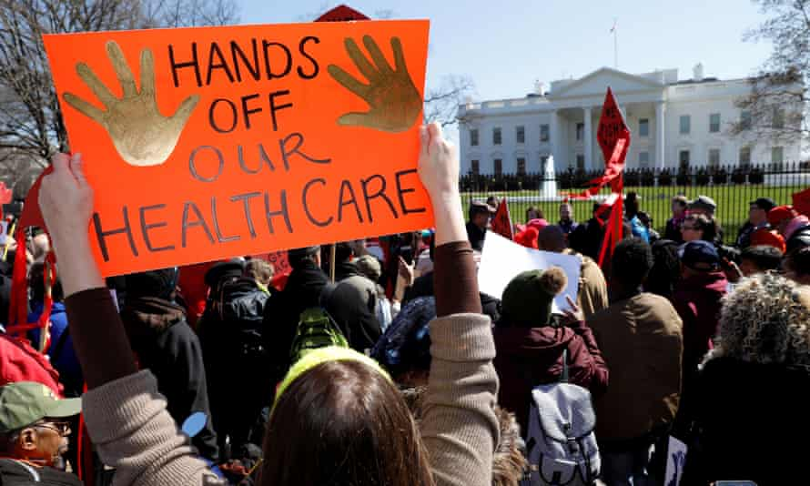 Healthcare demonstrators at the White House